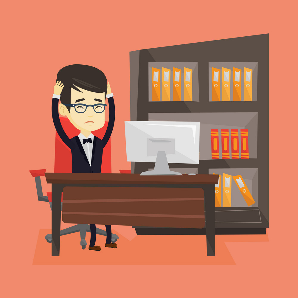 Asian stressed young office worker. Overworked business man feeling stress from work. Stressed employee sitting at workplace. Stress at work concept. Vector flat design illustration. Square layout.