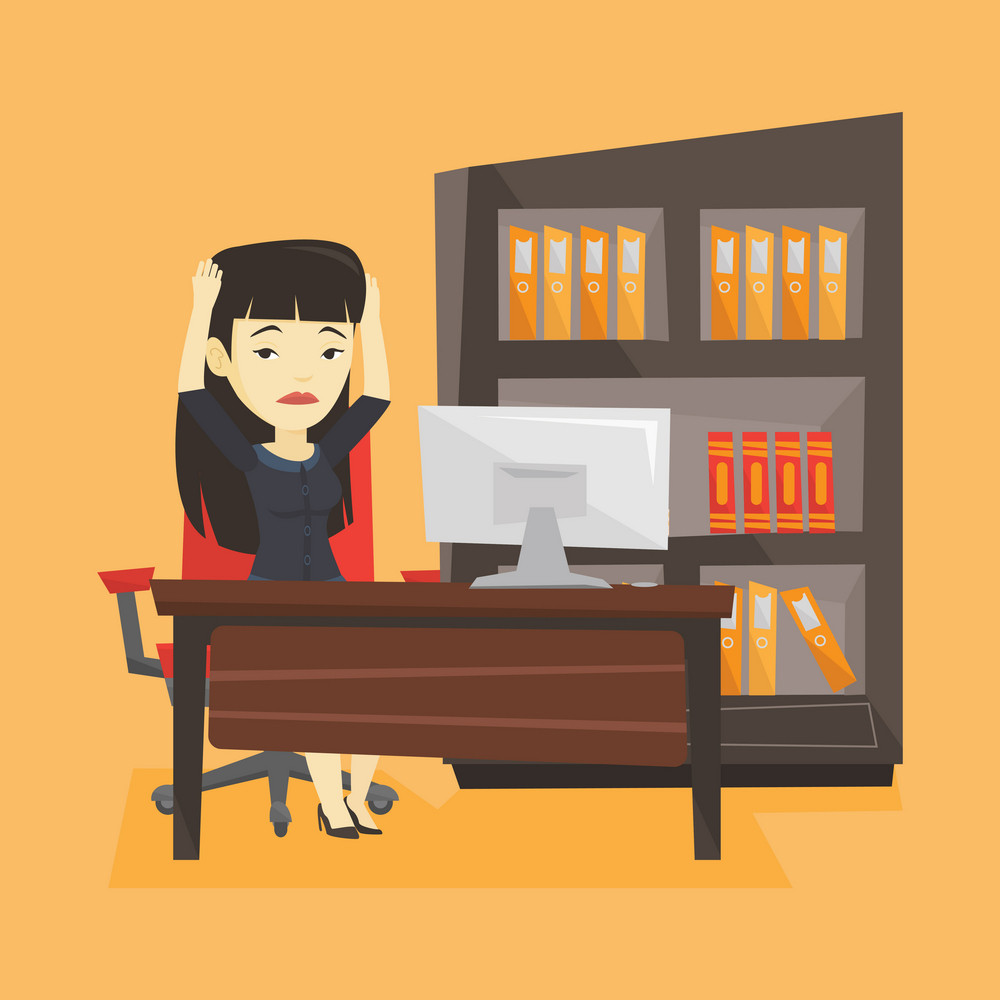 Asian stressed young office worker. Overworked business woman feeling stress from work. Stressed employee sitting at workplace. Stress at work concept. Vector flat design illustration. Square layout.