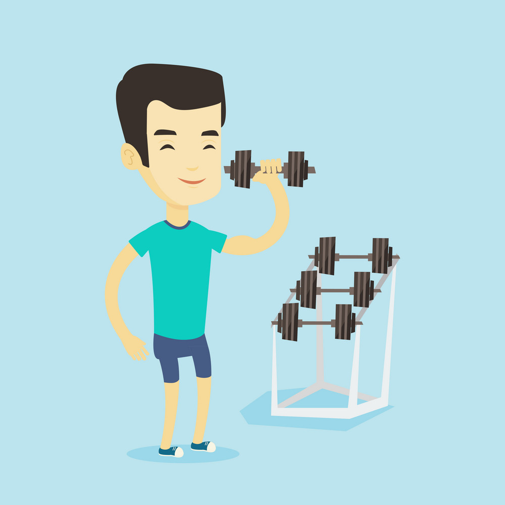 Asian strong weightlifter doing exercise with dumbbell. Young sporty man lifting a heavy weight dumbbell. Weightlifter holding dumbbell in the gym. Vector flat design illustration. Square layout.