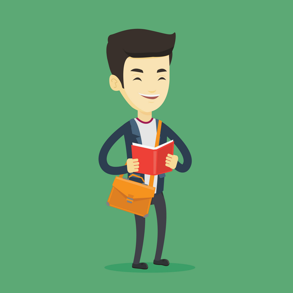 Asian student reading a book. Happy student reading a book and preparing for exam. Excited student standing with book in hands. Concept of education. Vector flat design illustration. Square layout.