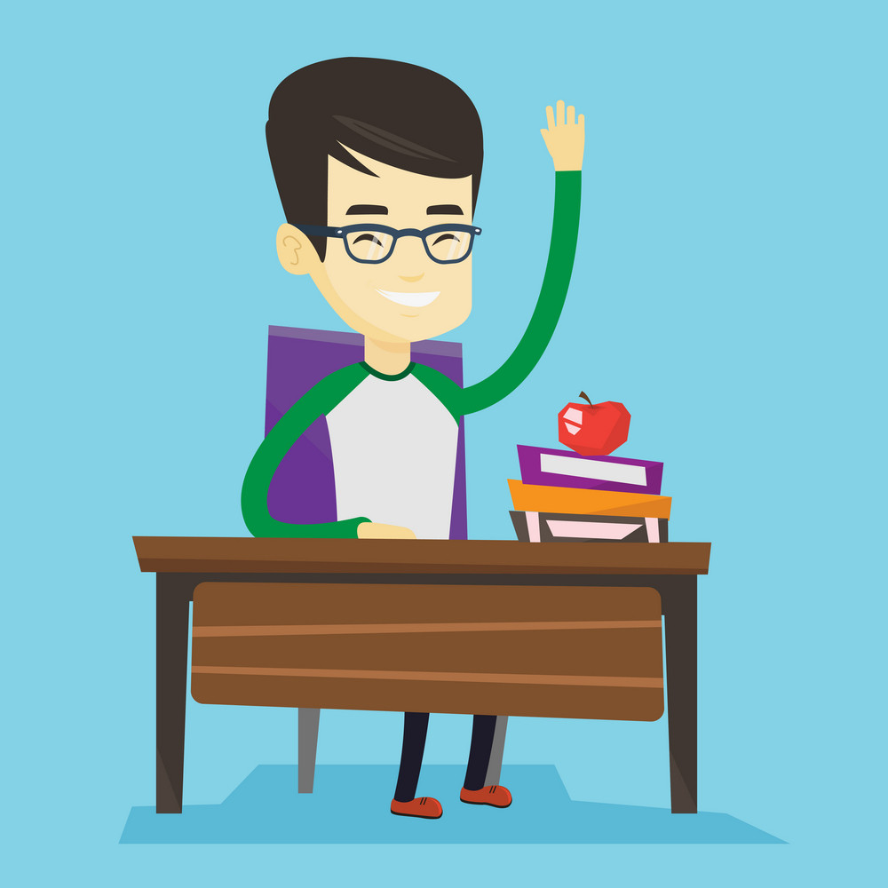 Asian student sitting at the desk with raised hand. Student raising hand in the classroom for an answer. Clever student raising his hand at lesson. Vector flat design illustration. Square layout.