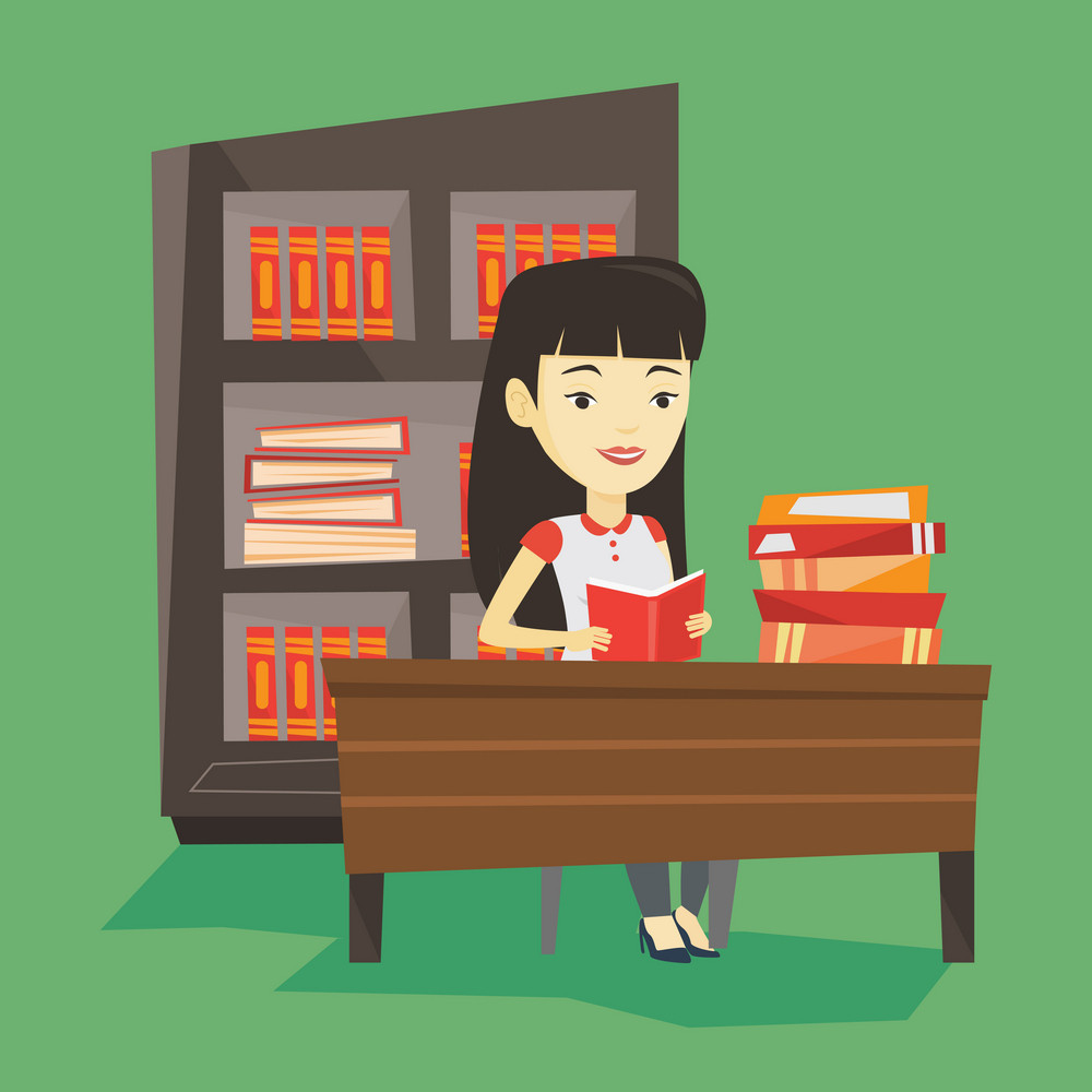 Asian student sitting at the table and holding a book in hands. Smiling student reading a book. Happy student reading a book and preparing for exam. Vector flat design illustration. Square layout.