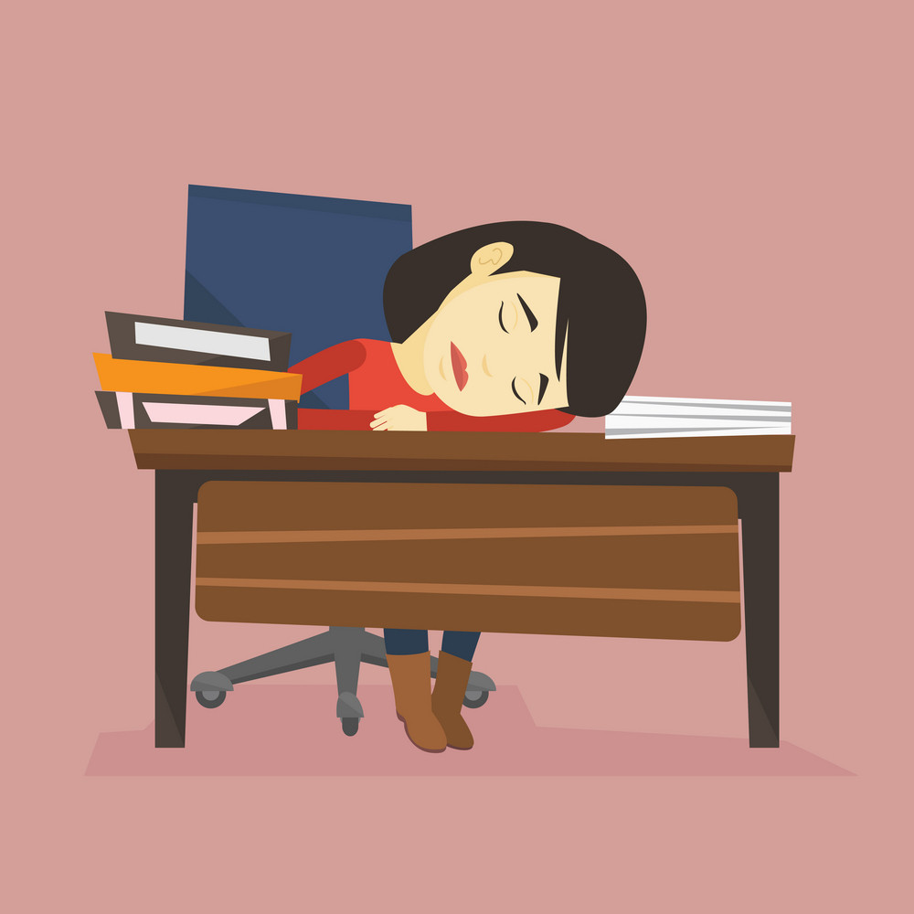 Asian student sleeping after learning. Fatigued student sleeping at the desk with books. Woman sleeping among the books at the table. Education concept. Vector flat design illustration. Square layout.