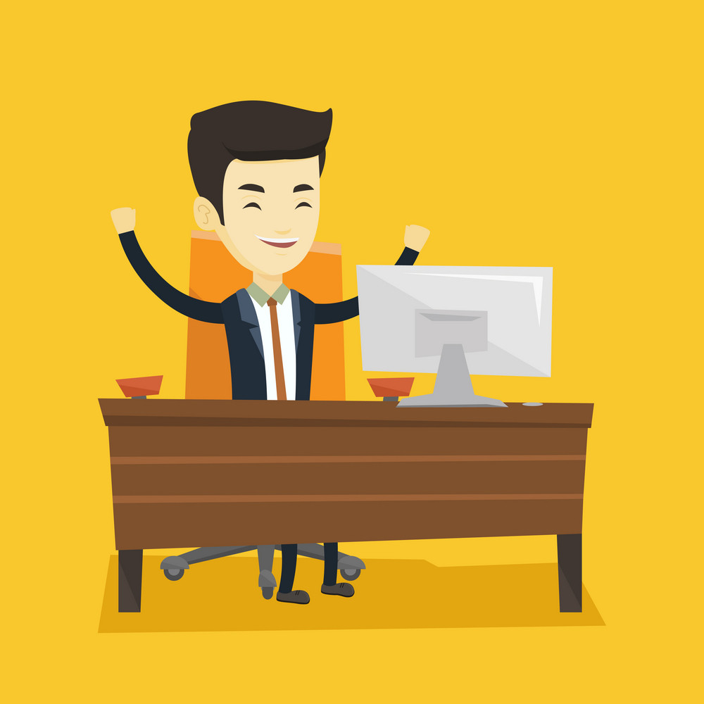 Asian successful business man celebrating at workplace in office. Successful business man celebrating business success. Successful business concept. Vector flat design illustration. Square layout.