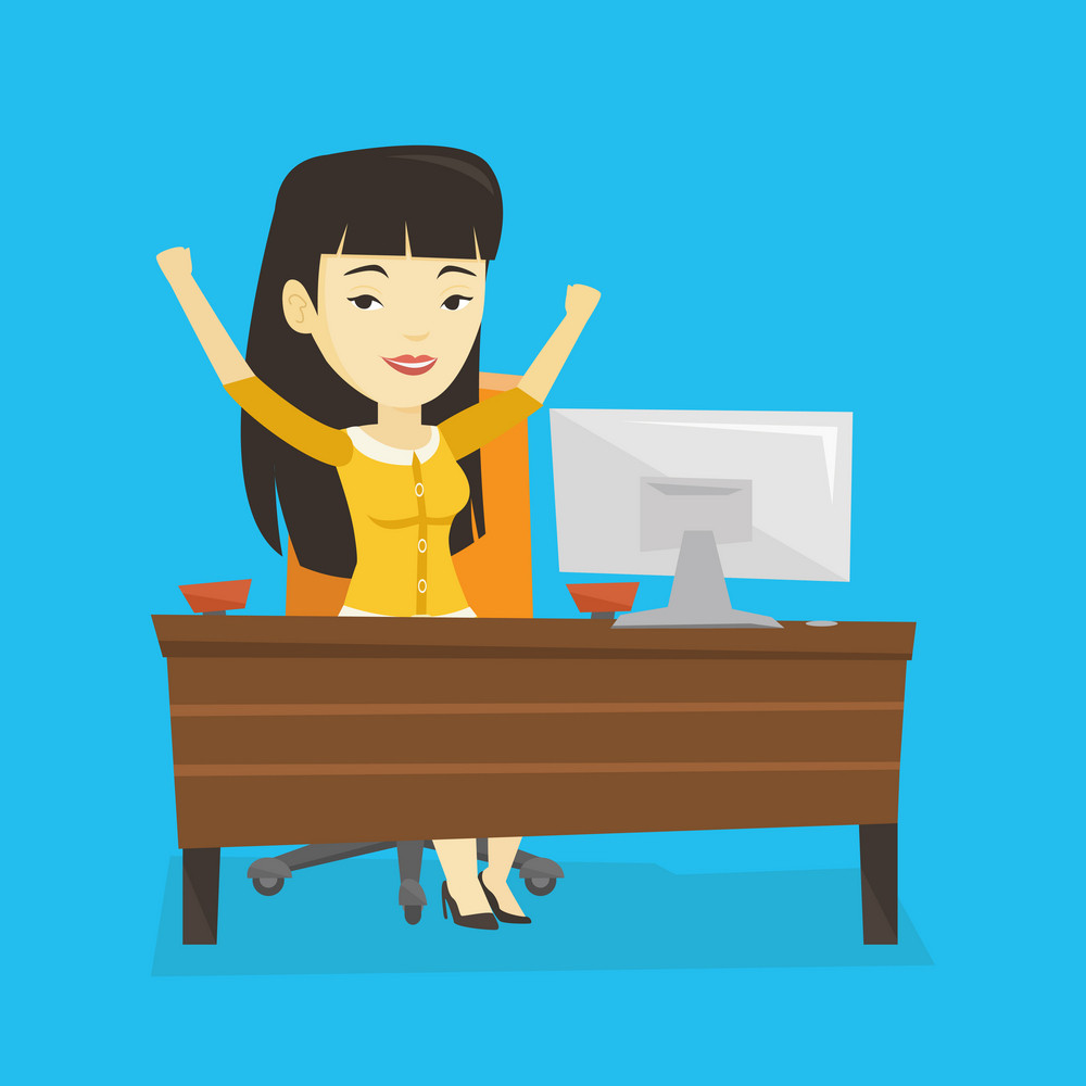 Asian successful business woman celebrating at workplace in office. Successful business woman celebrating business success. Successful business concept. Vector flat design illustration. Square layout.