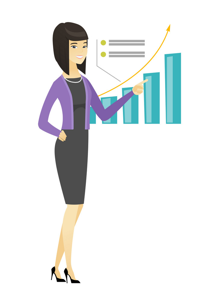 Asian successful business woman pointing at chart going up. Business woman satisfied by her business success. Business success concept. Vector flat design illustration isolated on white background.
