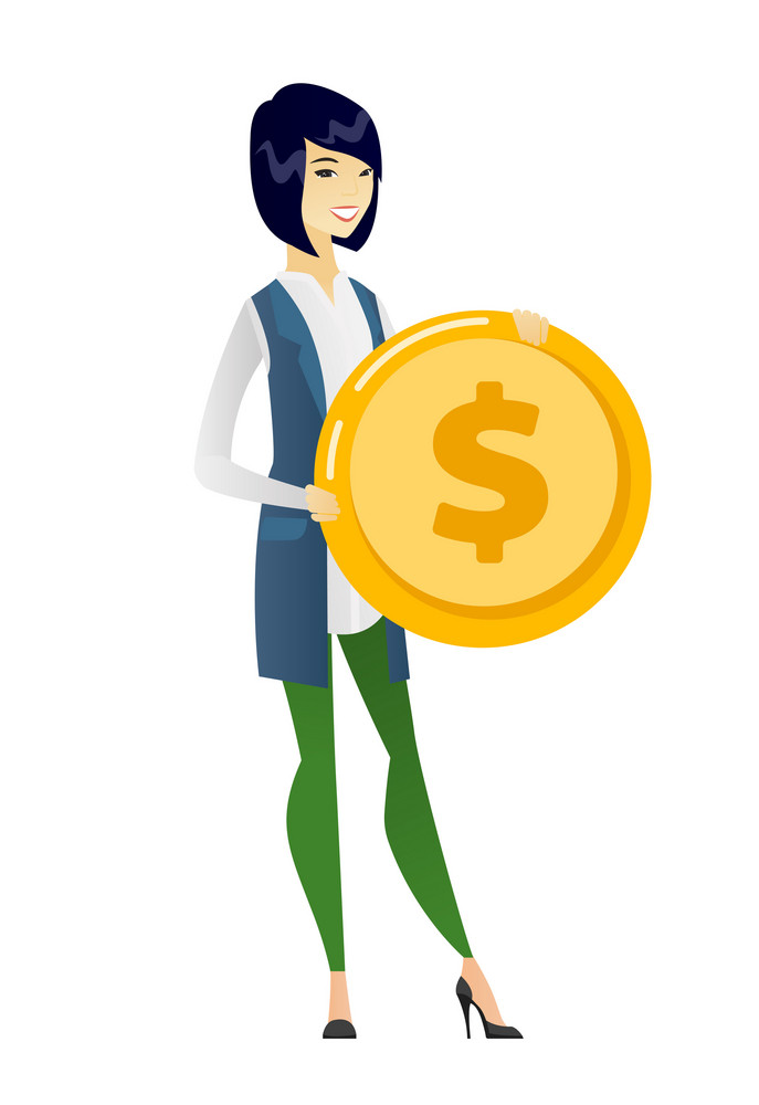 Asian successful business woman with dollar golden coin in hands. Successful business woman holding golden coin. Business success concept. Vector flat design illustration isolated on white background.