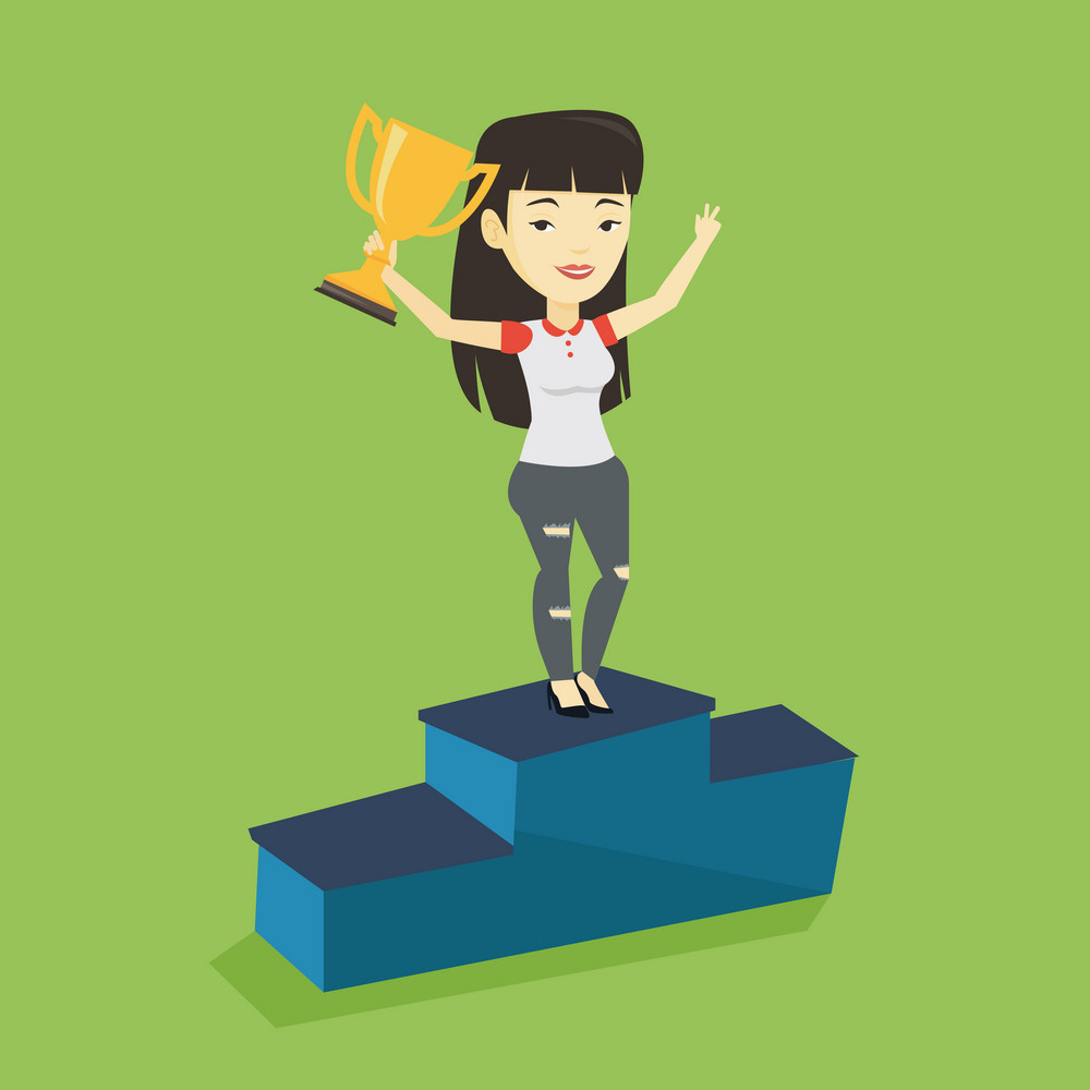 Asian successful businesswoman with business award standing on a pedestal. Cheerful businesswoman celebrating her business award. Business award concept. Vector flat design illustration. Square layout
