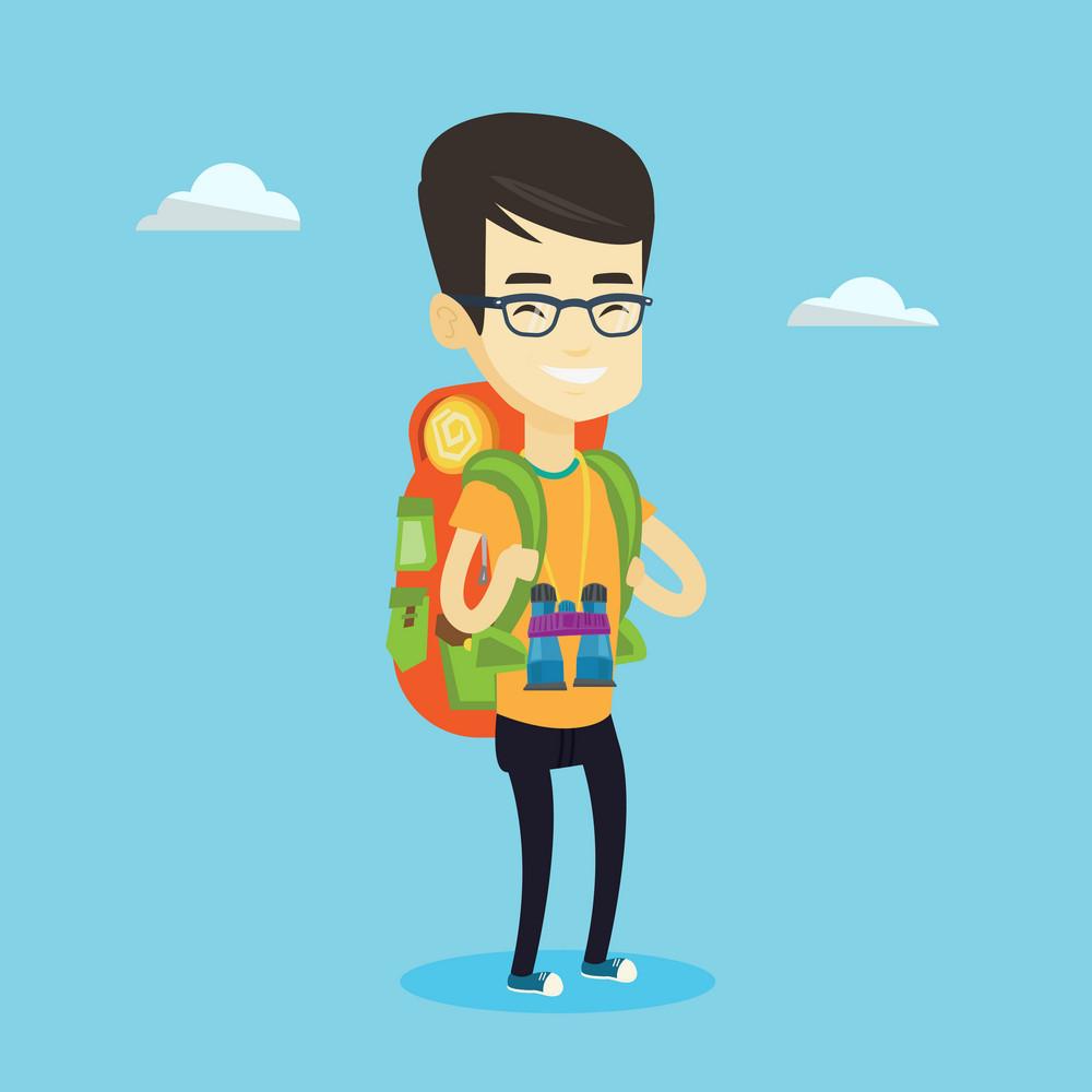 Asian traveler man standing with backpack and binoculars. Smiling traveler man enjoying his recreation time in nature. Traveler man during summer trip. Vector flat design illustration. Square layout.
