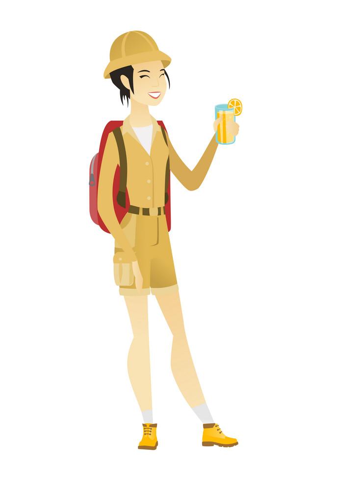 Asian traveler woman drinking cocktail. Full length of smiling traveler woman with cocktail. Young traveler holding glass of cocktail. Vector flat design illustration isolated on white background.