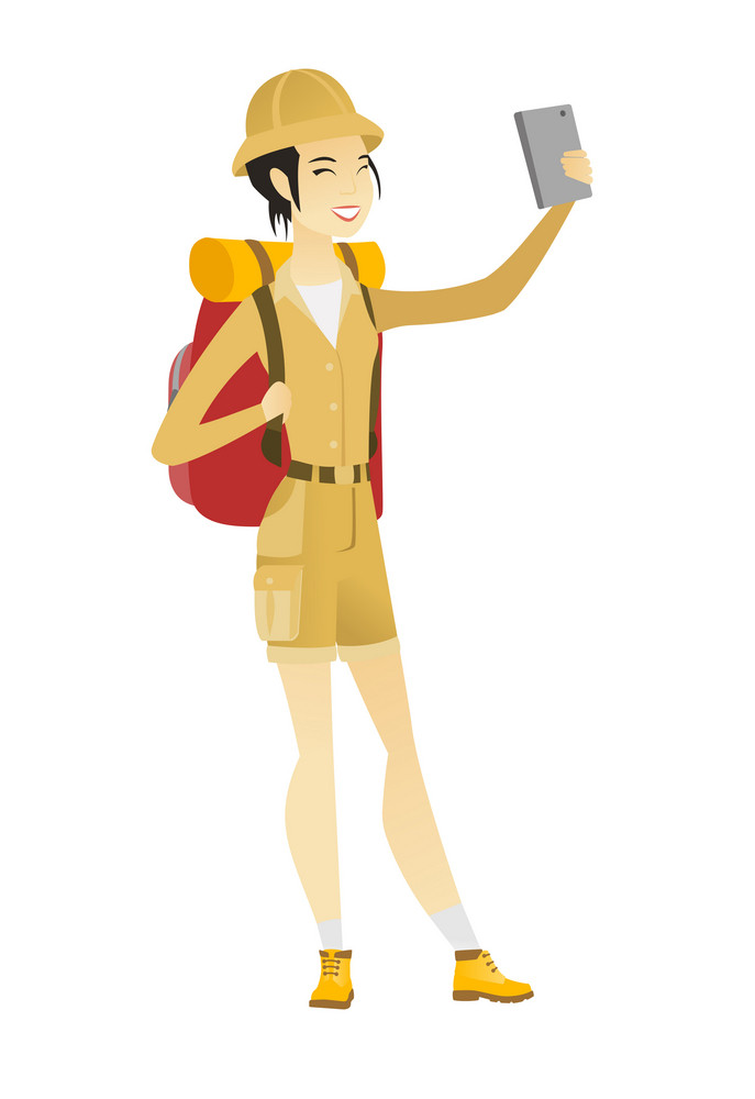 Asian traveler woman making selfie. Traveler woman with backpack taking selfie with cellphone. Traveler taking selfie during summer trip. Vector flat design illustration isolated on white background.