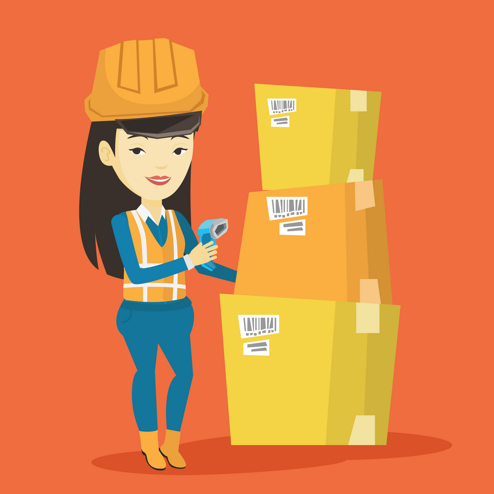 Asian warehouse worker scanning barcode on box. Warehouse worker checking barcode of box with a scanner. Warehouse worker in hard hat with scanner. Vector flat design illustration. Square layout.