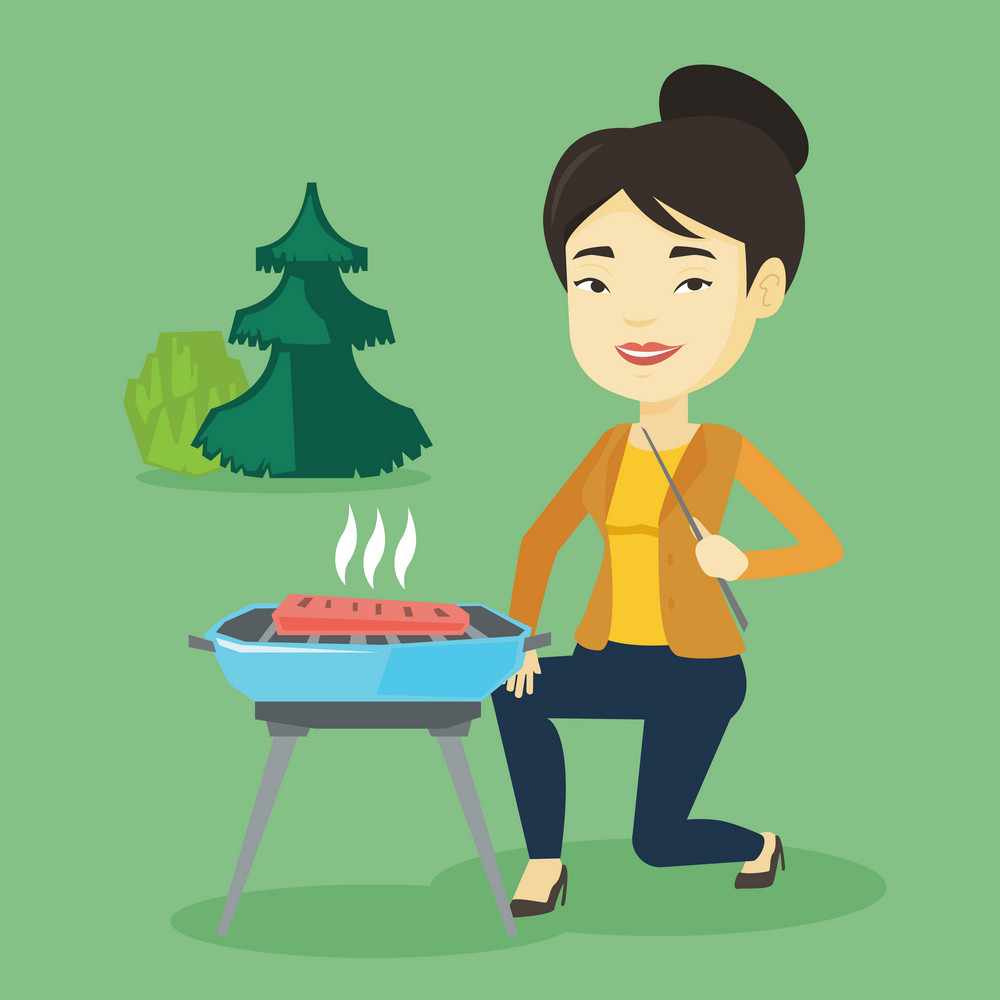 Asian woman cooking steak on barbecue grill outdoors. Young woman sitting next to barbecue grill in the park. Smiling woman having a barbecue party. Vector flat design illustration. Square layout.