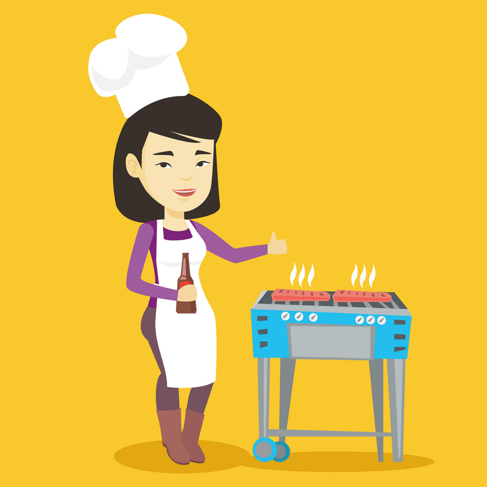 Asian woman cooking steak on the barbecue grill outdoors. Adult happy woman with bottle in hand cooking steak on gas barbecue grill and giving thumb up. Vector flat design illustration. Square layout.