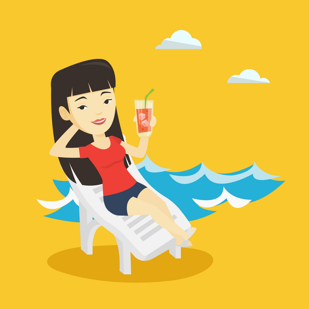 Asian woman drinking a cocktail on a beach chair. Young joyful woman sitting on a beach chair. Happy woman resting on a beach chair with cocktail. Vector flat design illustration. Square layout.