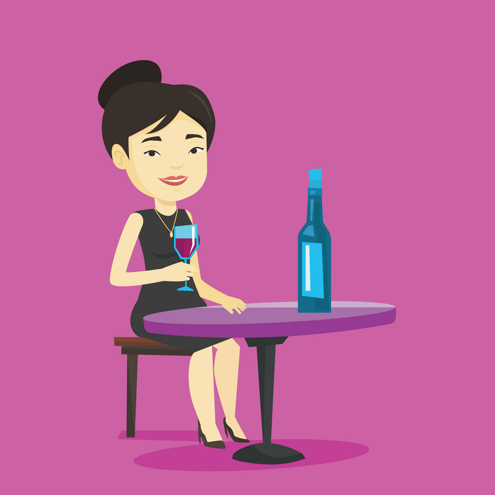 Asian woman drinking wine at restaurant. Adult woman sitting at the table with glass and bottle of wine. Cheerful woman enjoying a drink at wine bar. Vector flat design illustration. Square layout.