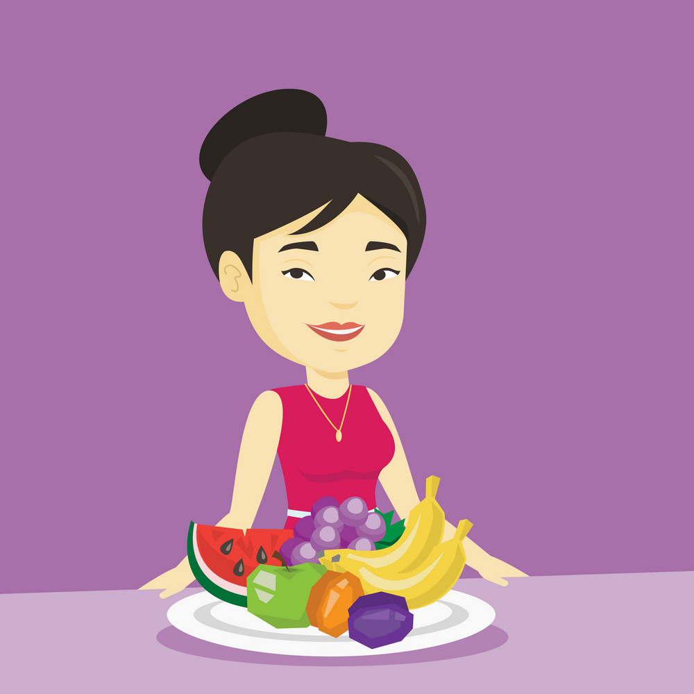 Asian woman eating fresh healthy fruits. Young friendly woman standing in front of table woth fresh fruits. Smiling woman with plate full of fruits. Vector flat design illustration. Square layout.