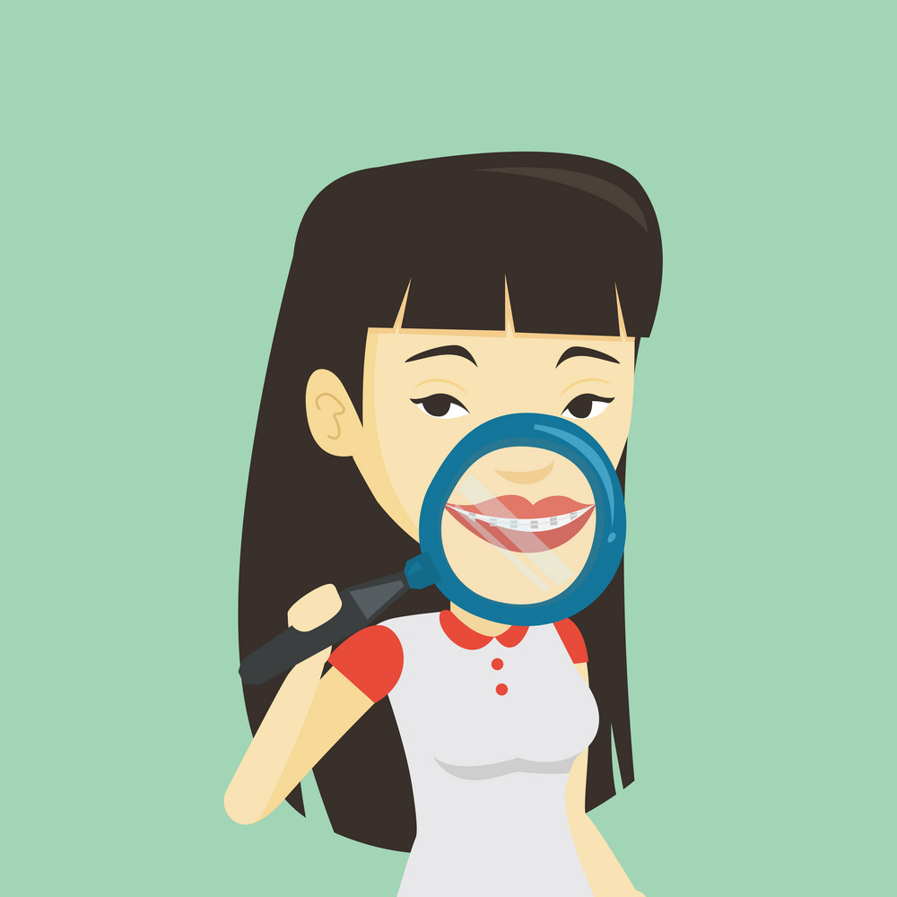 Asian woman examining her teeth with magnifier. Smiling young woman holding magnifying glass in front of teeth. Teeth examining and health care concept. Vector flat design illustration. Square layout.