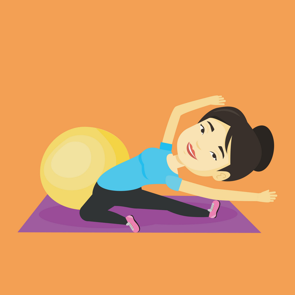 Asian woman exercising in the gym. Woman doing stretching on exercise mat. Sportswoman stretching before training. Woman doing stretching exercises. Vector flat design illustration. Square layout.
