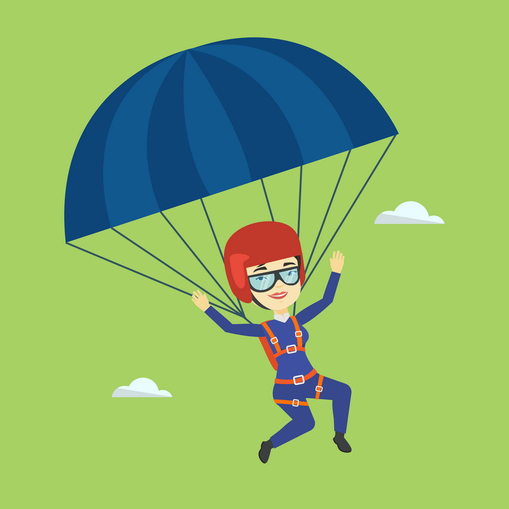 Asian woman flying with a parachute. Young happy woman paragliding on a parachute. Professional parachutist descending with a parachute in the sky. Vector flat design illustration. Square layout.