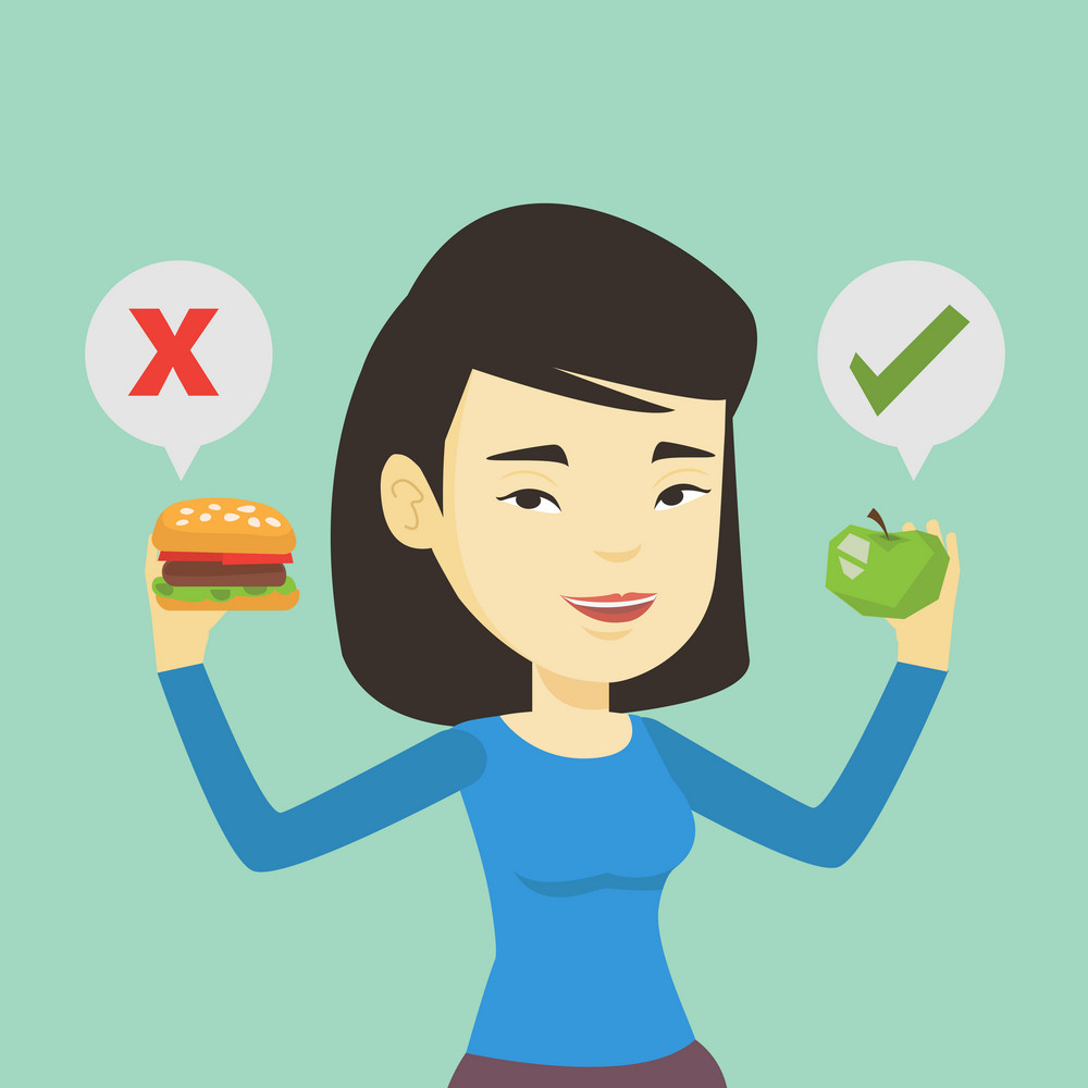 Asian woman holding apple and hamburger in hands. Woman choosing between apple and hamburger. Woman choosing between healthy and unhealthy nutrition. Vector flat design illustration. Square layout.
