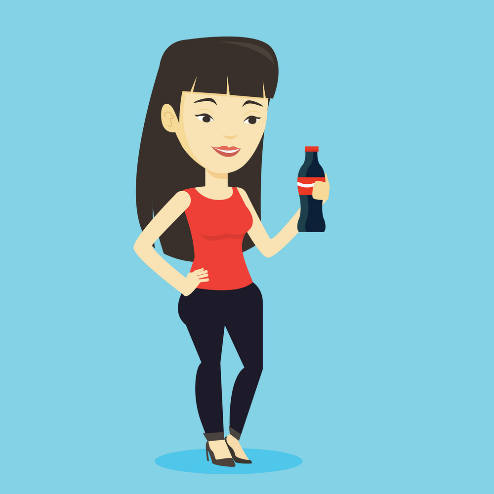 Asian woman holding fresh soda beverage in glass bottle. Young woman standing with bottle of soda. Cheerful woman drinking brown soda from bottle. Vector flat design illustration. Square layout.
