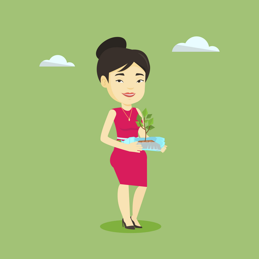 Asian woman holding in hands plastic bottle with plant growing inside. Woman holding plastic bottle used as plant pot. Concept of plastic recycling. Vector flat design illustration. Square layout.