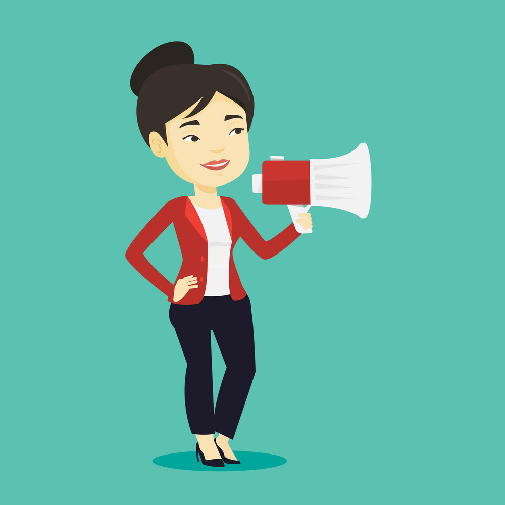 Asian woman holding megaphone. Social media marketing concept. Woman promoter speaking into a megaphone. Young woman advertising using megaphone. Vector flat design illustration. Square layout.