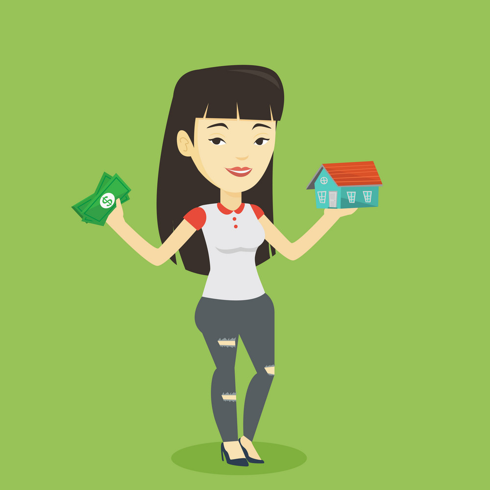 Asian woman holding money and model of house. Young happy woman having loan for house. Woman got loan for buying a new house. Real estate loan concept. Vector flat design illustration. Square layout.