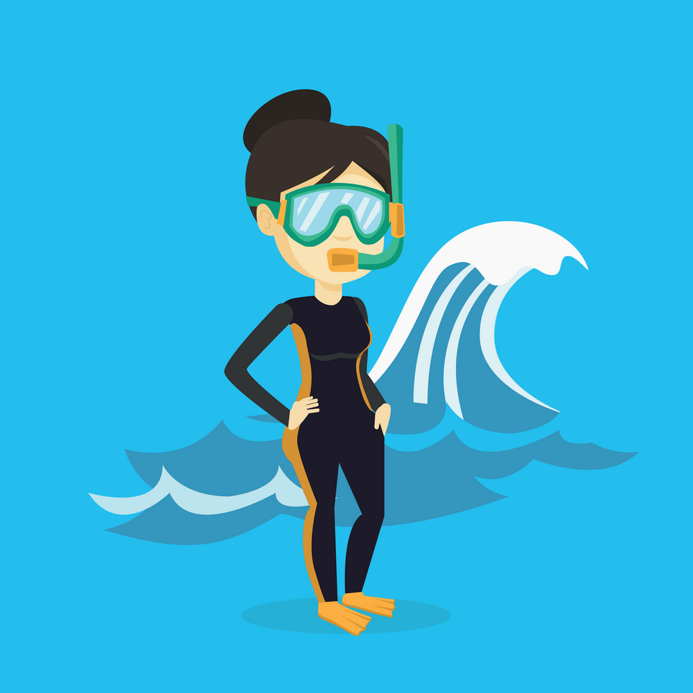 Asian woman in diving suit, flippers, mask and tube standing on the background of a big sea wave. Woman enjoying snorkeling. Diver ready for snorkeling. Vector flat design illustration. Square layout.