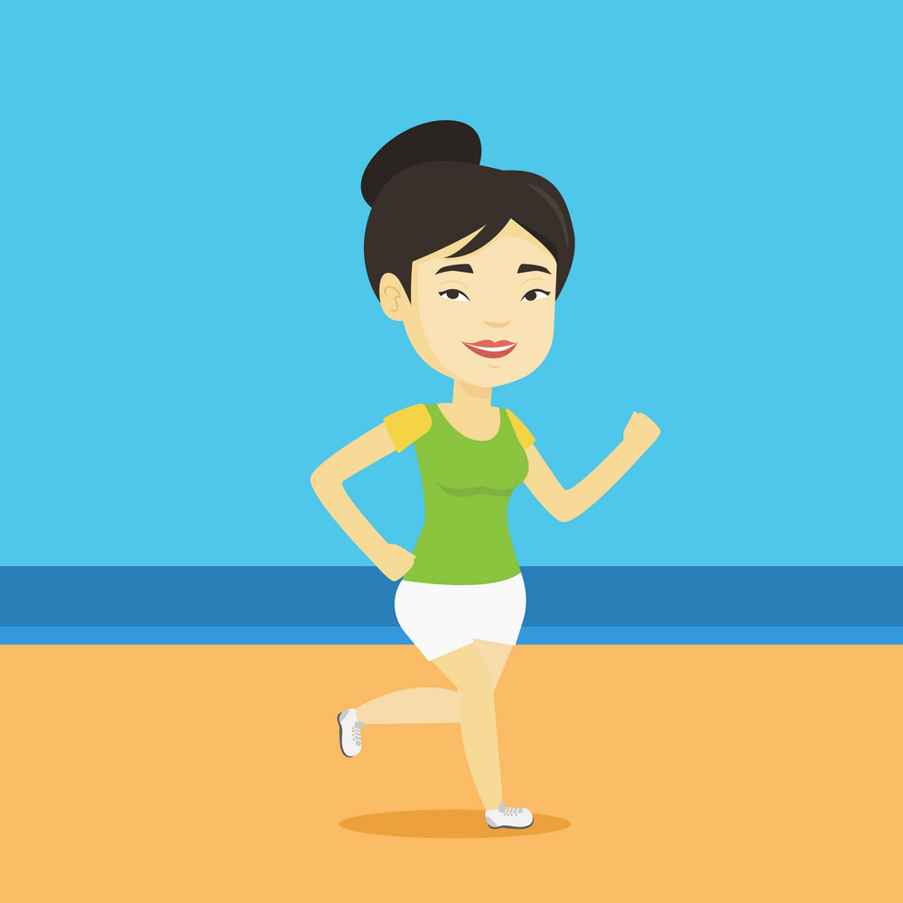 Asian woman jogging on beach. Sporty female athlete running on the beach. Young woman running along the seashore. Fit woman enjoying jogging on beach. Vector flat design illustration. Square layout.