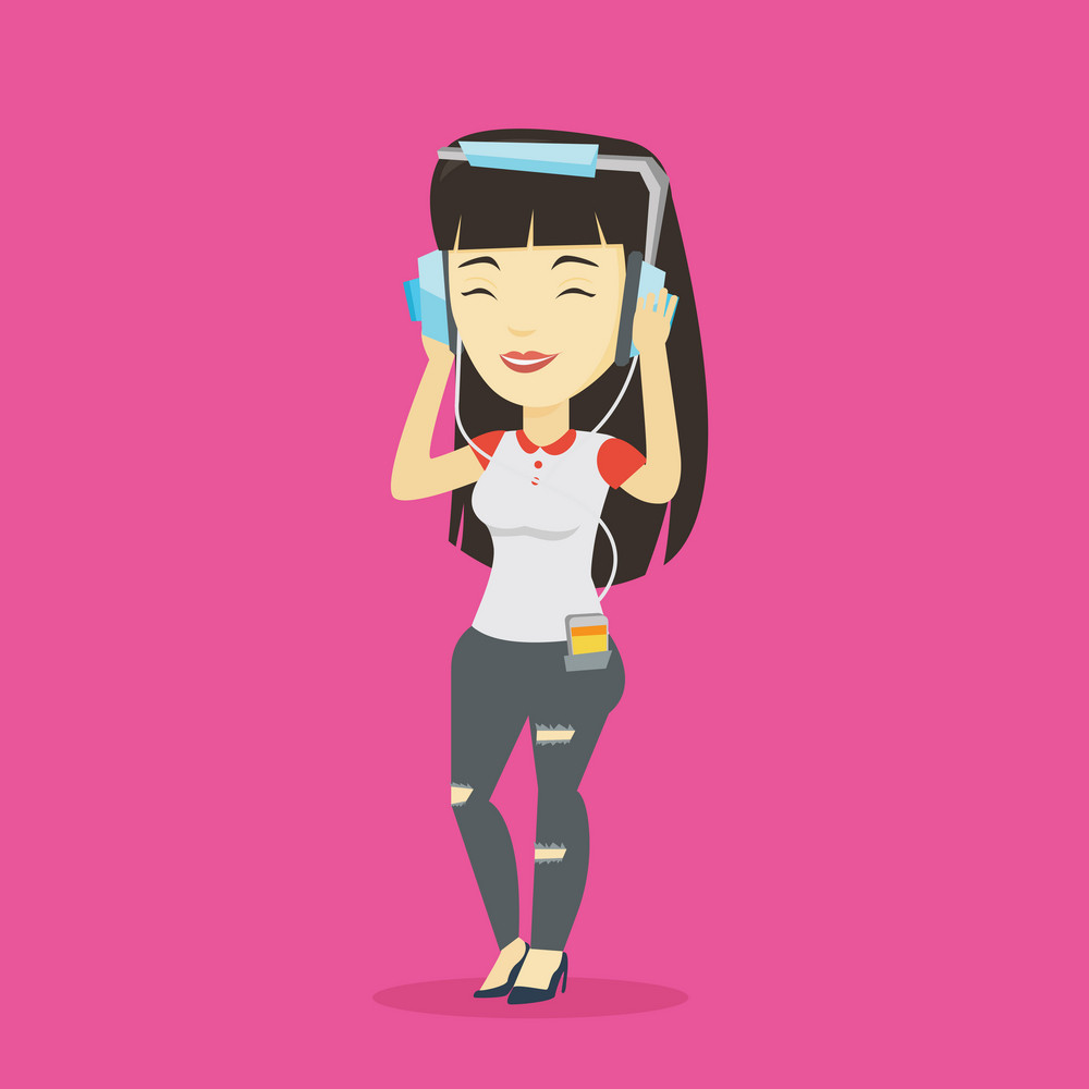 Asian woman listening to music on her smartphone. Young woman in headphones listening to music. Relaxed woman with eyes closed enjoying music. Vector flat design illustration. Square layout.