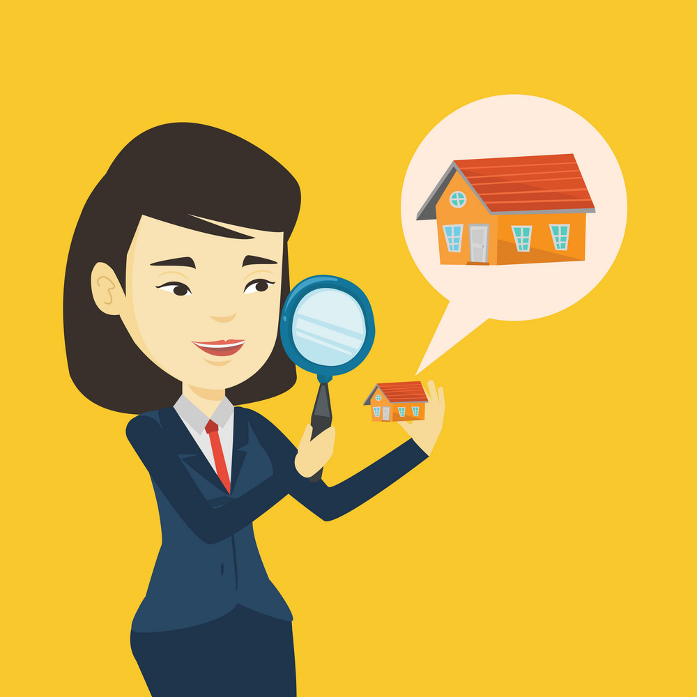 Asian woman looking for a new house in real estate market. Young smiling woman using a magnifying glass for seeking a new house in real estate market. Vector flat design illustration. Square layout.