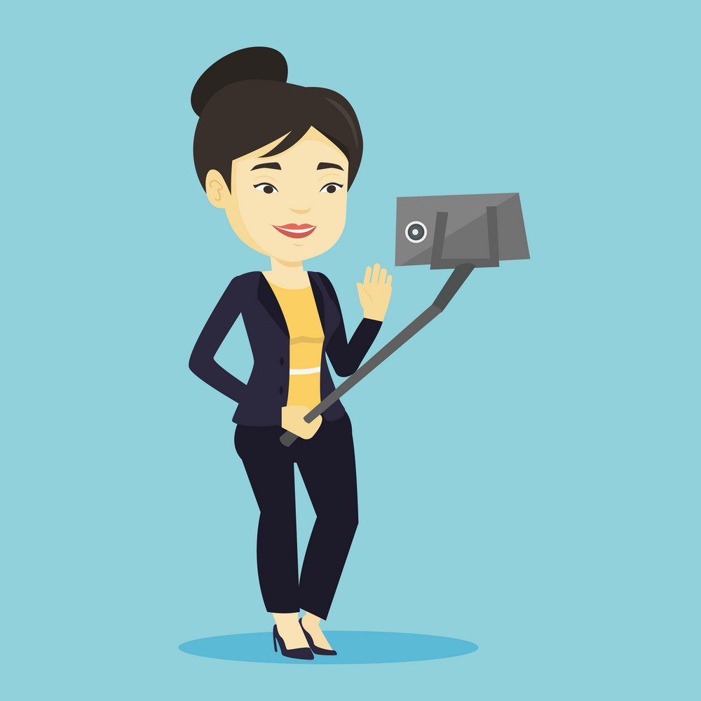 Asian woman making selfie with a selfie-stick. Smiling woman taking photo with cellphone. Young woman taking selfie and waving her hand. Vector flat design illustration. Square layout.