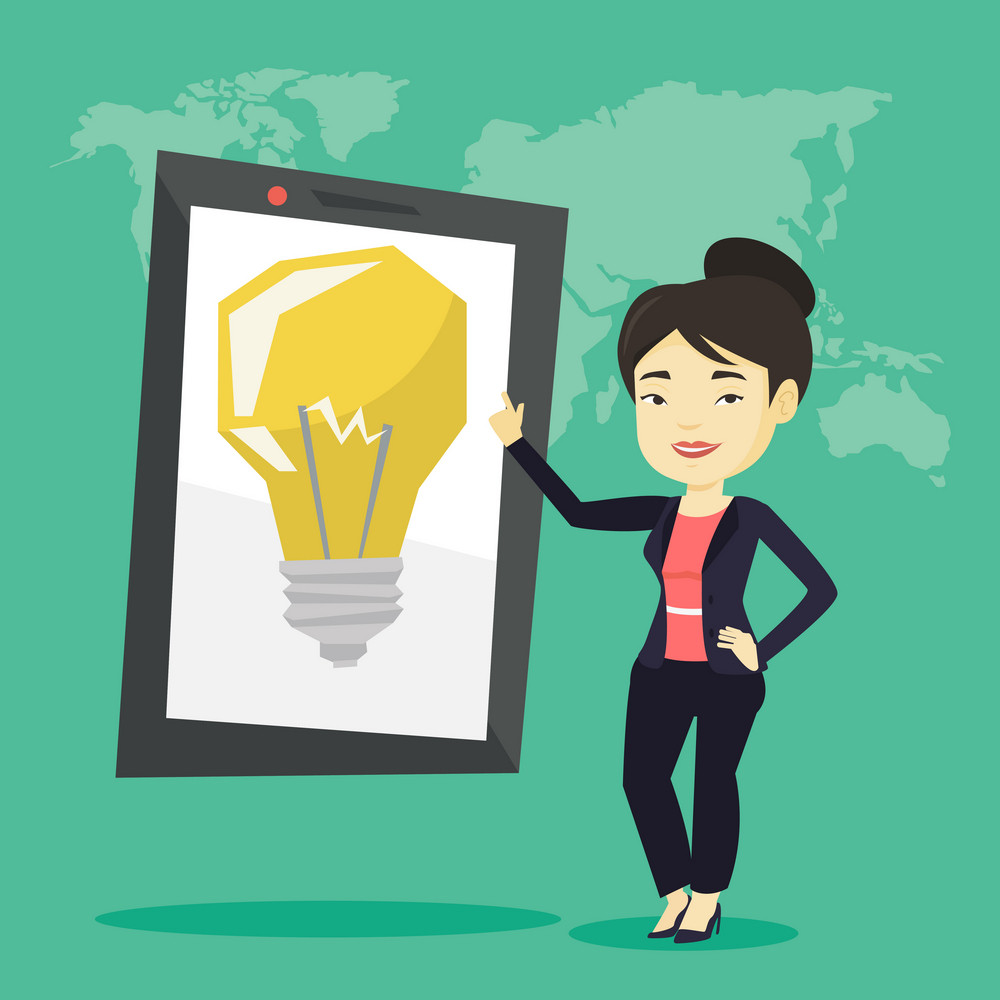 Asian woman pointing at a big tablet computer with a light bulb on a screen. Busineswoman standing near tablet computer on the background with world map. Vector flat design illustration. Square layout