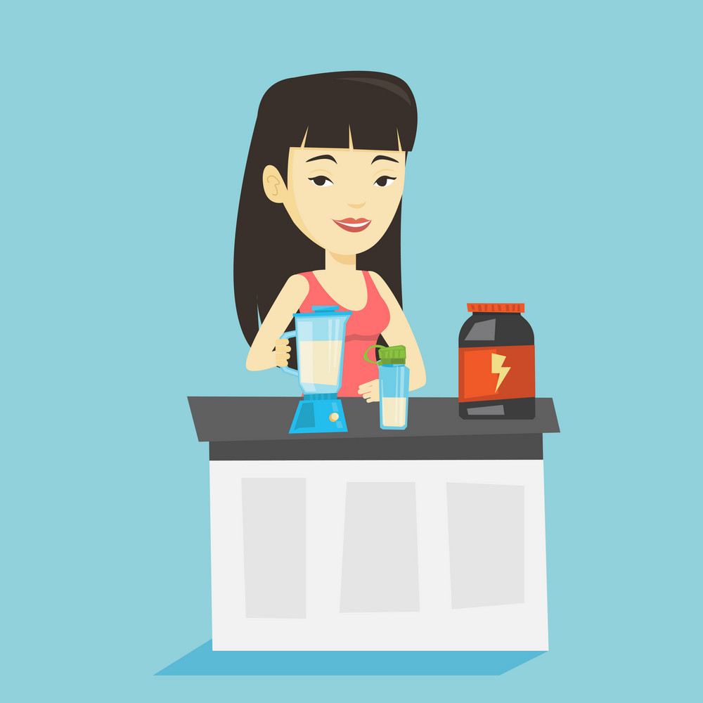 Asian woman preparing protein cocktail of bodybuilding food supplements. Sportswoman making protein shake using blender. Woman cooking protein cocktail. Vector flat design illustration. Square layout.
