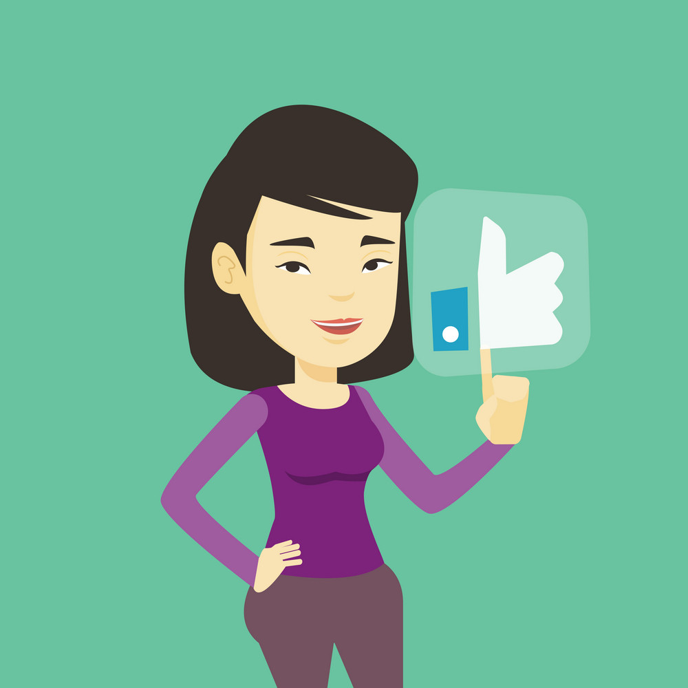 Asian woman pressing modern social button with thumb up. Young happy woman pressing like button. Smiling woman pressing social network like button. Vector flat design illustration. Square layout.
