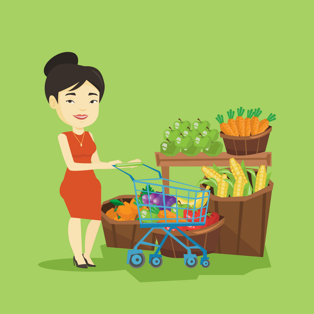 Asian woman pushing a supermarket cart with some healthy products in it. Customer shopping at supermarket with cart. Woman buying healthy products. Vector flat design illustration. Square layout.