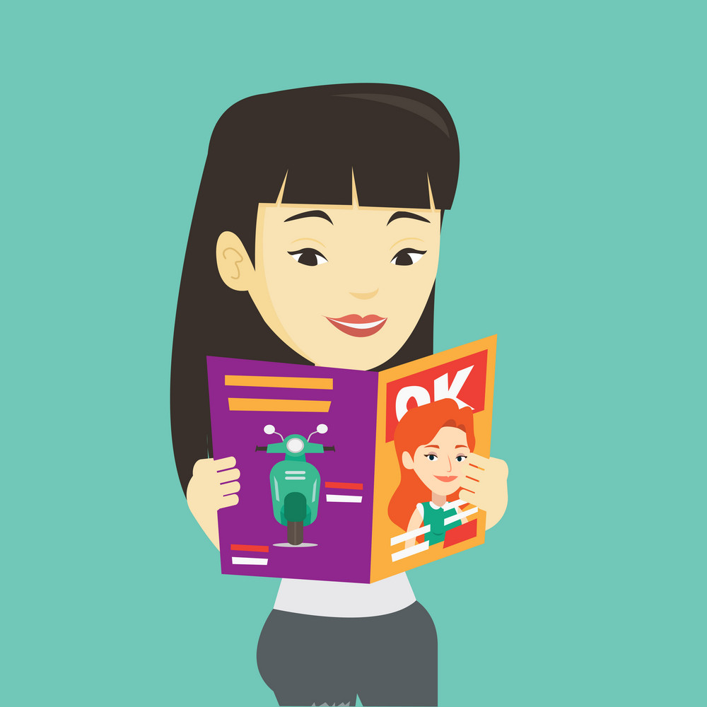 Asian woman reading a magazine. Young woman standing with magazine in hands. Woman holding a magazine. Happy woman reading good news in a magazine. Vector flat design illustration. Square layout.