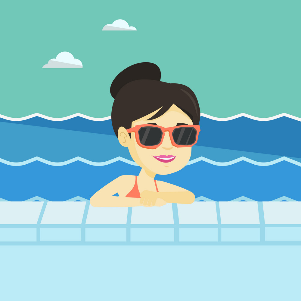 Asian woman relaxing in swimming pool at resort. Young woman bathing in swimming pool. Cheerful woman swimming and relaxing in pool on summer vacation. Vector flat design illustration. Square layout.
