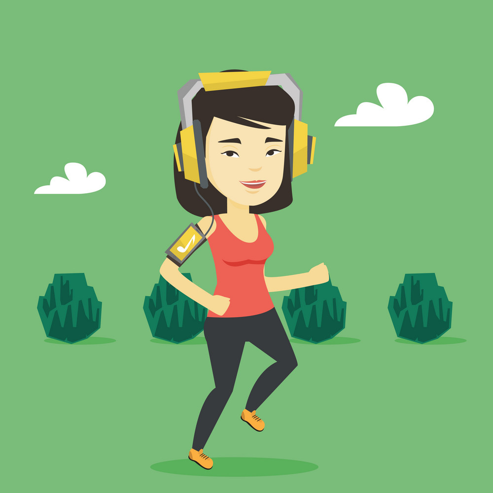 Asian woman running with earphones and armband for smartphone. Young woman using armband for smartphone to listen to music while running in the park. Vector flat design illustration. Square layout.