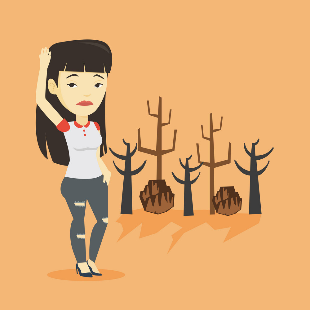 Asian woman scratching head on the background of dead forest. Dead forest caused by global warming or wildfire. Concept of environmental destruction. Vector flat design illustration. Square layout.