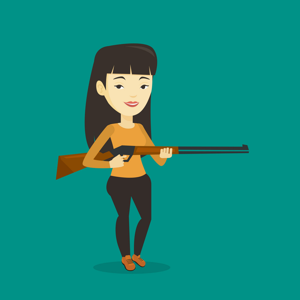 Asian woman shooting skeet with shotgun. Hunter ready to hunt with hunting rifle. Young woman aiming with a hunter gun. Hunter holding a long rifle. Vector flat design illustration. Square layout.