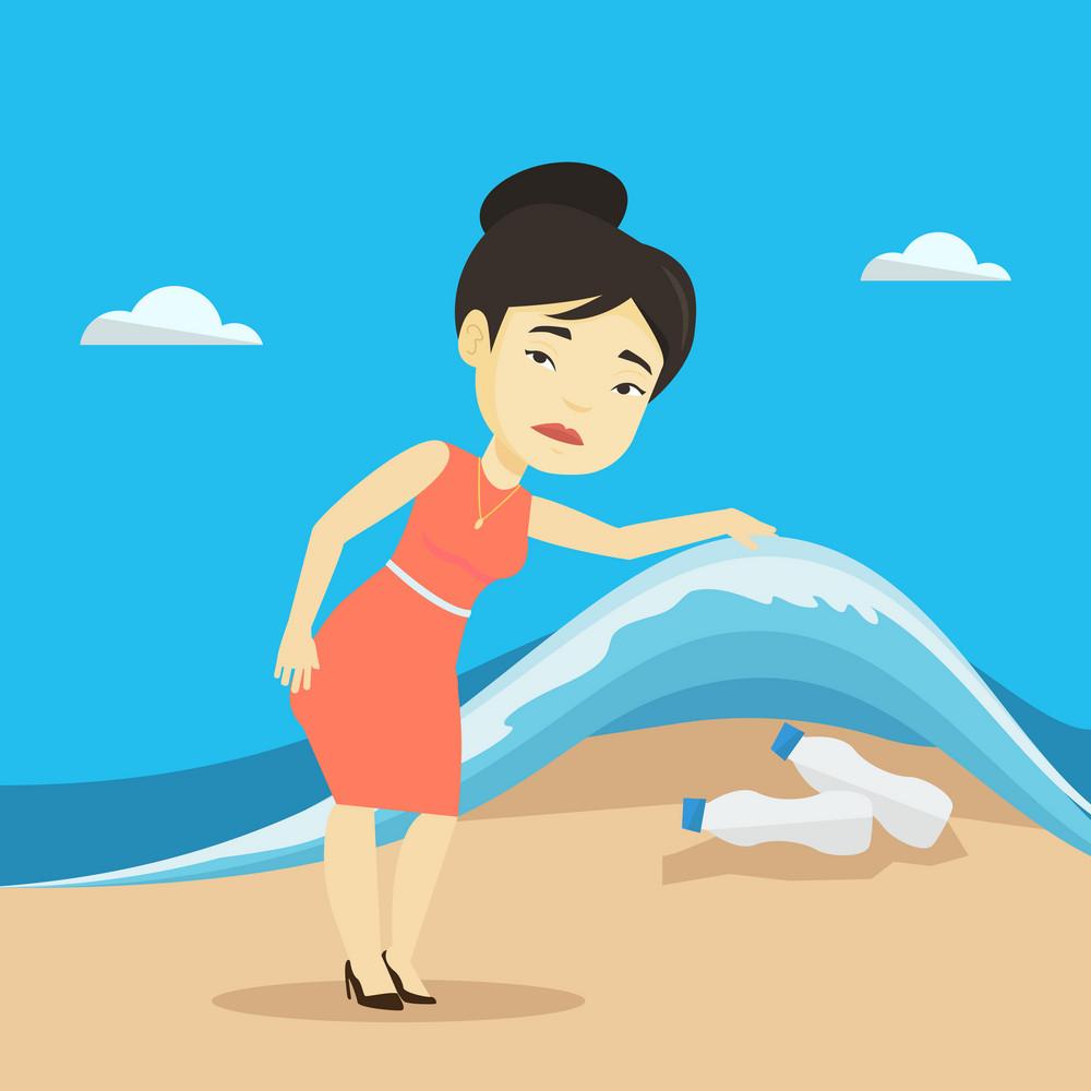 Asian woman showing plastic bottles under water of sea. Young woman collecting plastic bottles from water. Water pollution and plastic pollution concept. Vector flat design illustration. Square layout