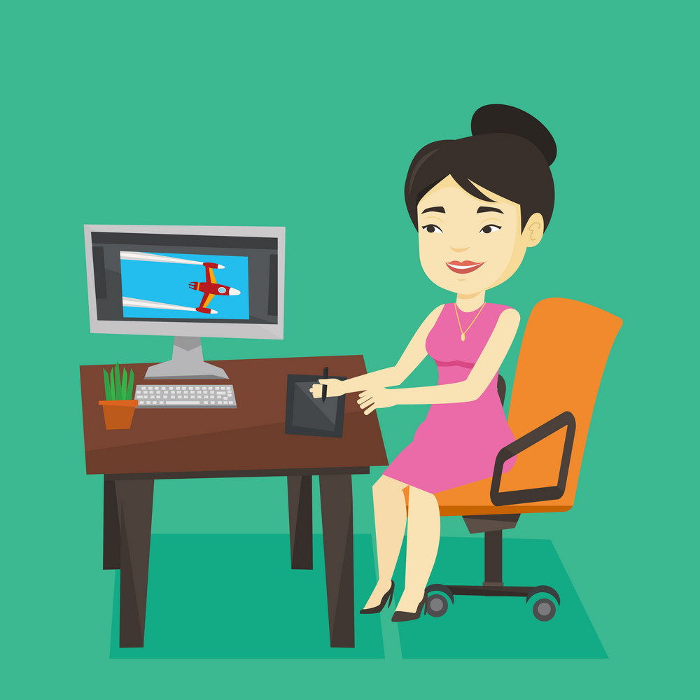 Asian woman sitting at desk and drawing on graphics tablet. Graphic designer using digital graphics tablet, computer and pen. Graphic designer at work. Vector flat design illustration. Square layout.