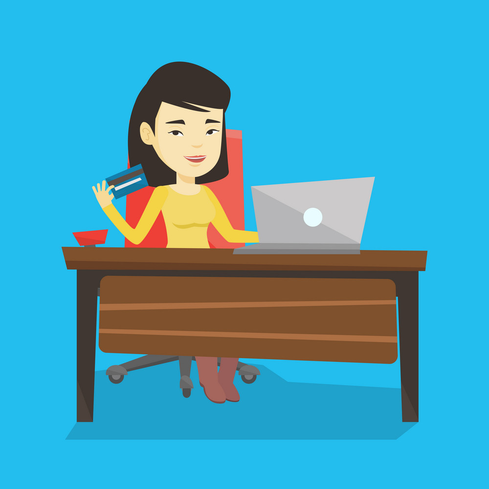 Asian woman sitting at the table with laptop and holding credit card in hand. Woman using laptop for online shopping. Woman shopping online at home. Vector flat design illustration. Square layout.