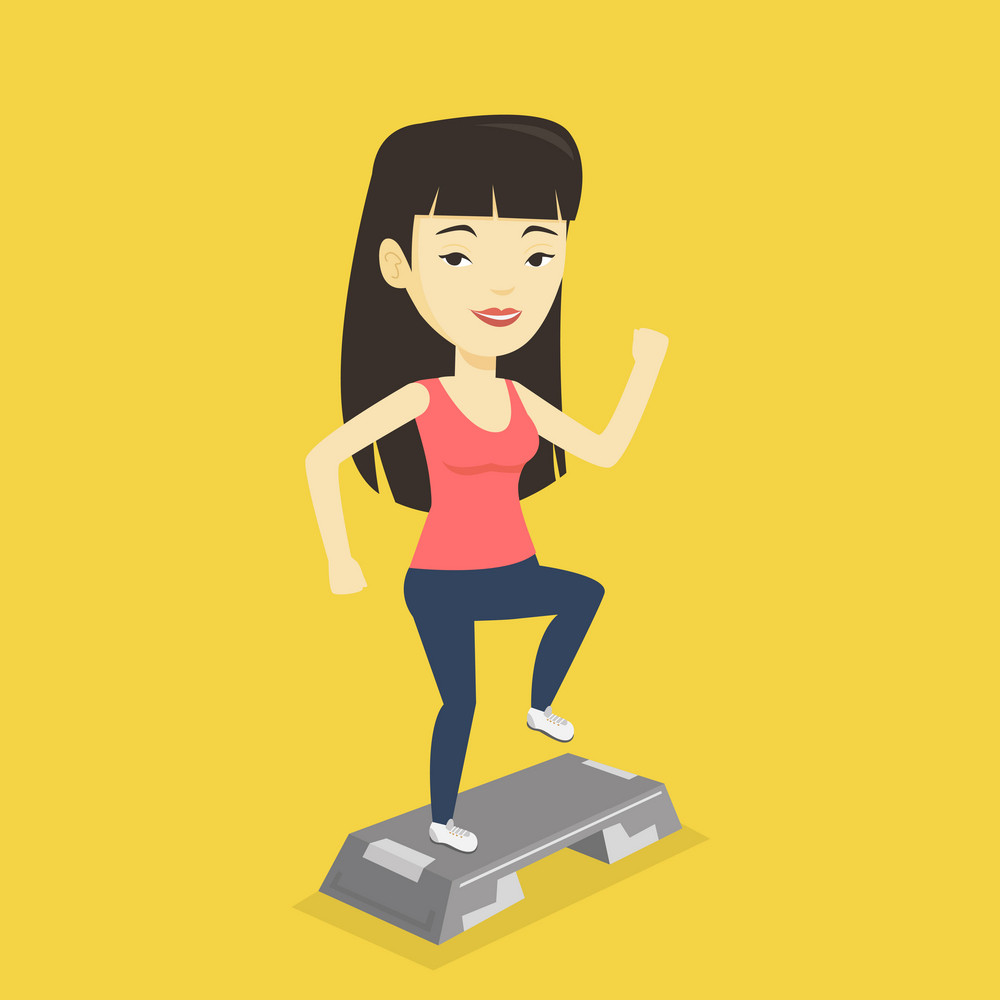 Asian woman training with stepper in the gym. Woman doing step exercises. Woman working out with stepper in the gym. Sportswoman standing on stepper. Vector flat design illustration. Square layout.