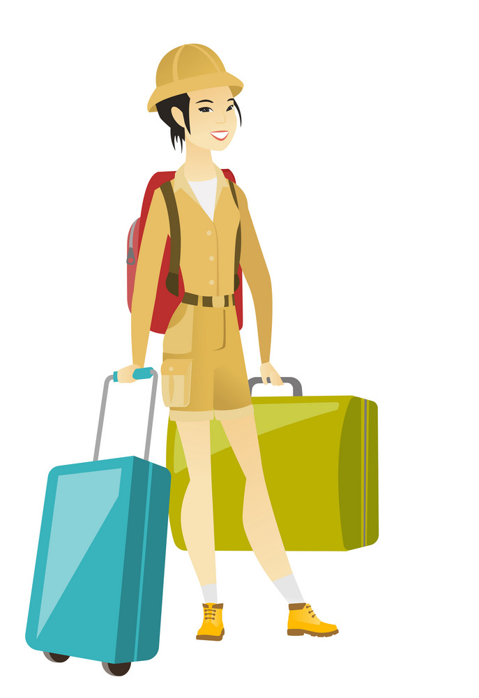 Asian woman traveler carrying her suitcase. Young woman traveler with many suitcases. Happy woman passenger with backpack and suitcases. Vector flat design illustration isolated on white background.