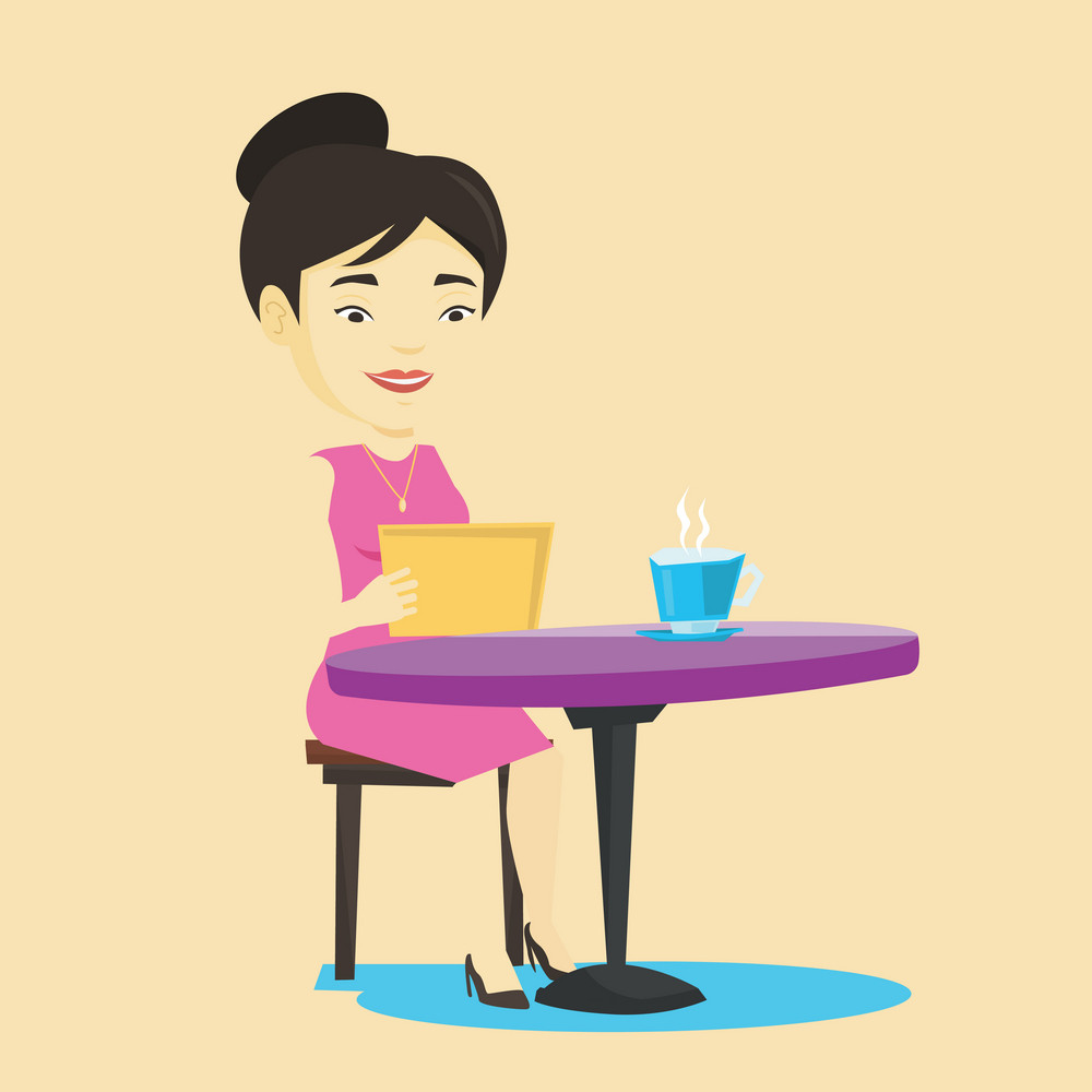 Asian woman using a tablet computer in a cafe. Woman surfing in the social network. Woman rewriting in social network in a cafe. Social network concept. Vector flat design illustration. Square layout.