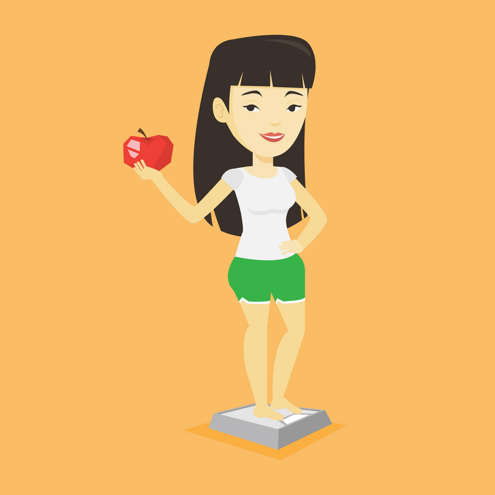 Asian woman with apple in hand weighing after diet. Woman satisfied with the result of her diet. Woman on a diet. Dieting and healthy lifestyle concept. Vector flat design illustration. Square layout.